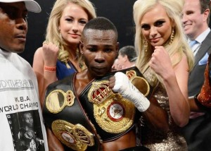 (L-R) D.J. Montanocordoba, Guillermo Rigondeaux and (in background) Gary Hyde