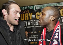 Fury (l) and cunningham exchange heated words