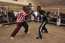 Agbeko hits the mitts with coach asare