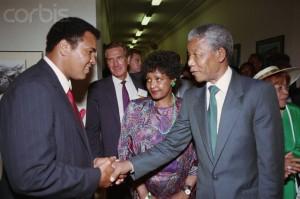 Nelson Mandela Shaking Hands with Muhammad Ali