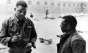 Mandela and Walter Sisulu on Robben Island in 1966 (Photograph Getty)