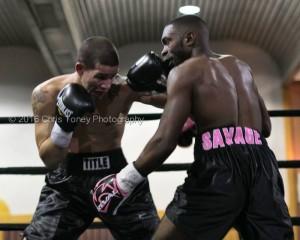 Valerio (L ) landing on Savage